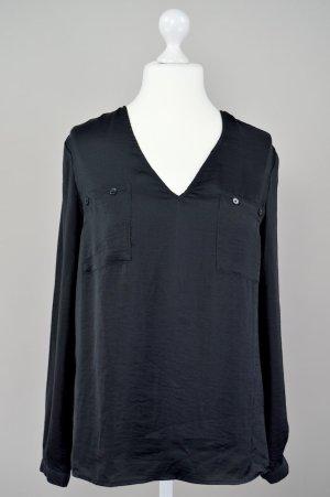 Benetton Bluse glänzend schwarz Größe L 1707220300497