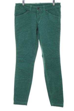 Benetton Pantalon en velours côtelé turquoise-vert style décontracté