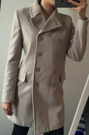 Benetton creme-grauer Mantel mit Taschen