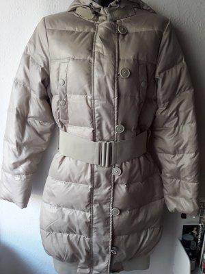 Benetton Damen Daunen mantel Jacke Winter mit Gürtel Beige Gold GR.36 NEU