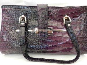 Benetton Damen Henkeltasche, Handtasche, Lila mit Kroko Optik