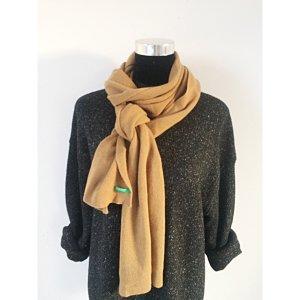 Benetton Feinstrick Schal Beige braun Strickschal Basic Winter Schal mit Wolle