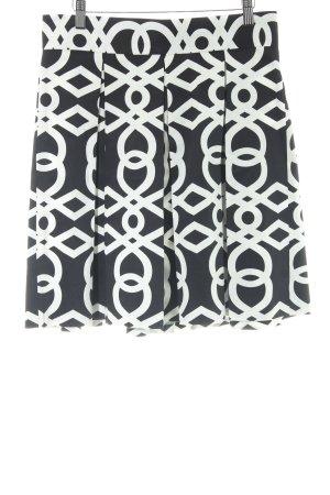 Benetton Jupe évasée noir-blanc motif abstrait style romantique
