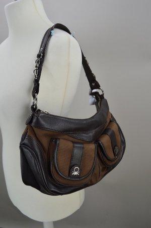 Benetton Handtasche in braun mit Reißverschluss