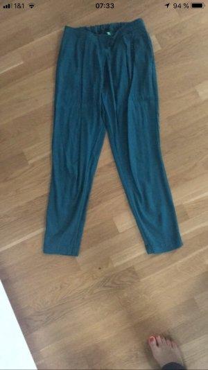 Benetton Pantalon à pinces bleu pétrole
