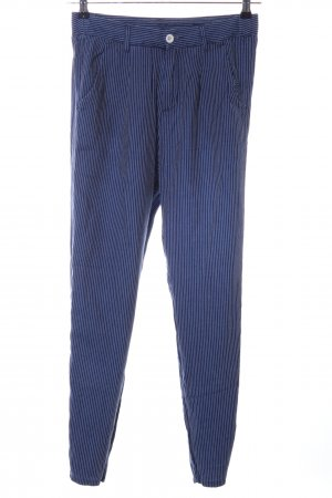 Benetton Jeans Chinohose blau-weiß Streifenmuster Casual-Look
