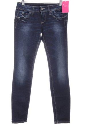 Benetton Jeans Hüftjeans dunkelblau Farbverlauf Bleached-Optik