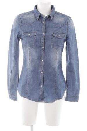 Benetton Jeans Jeanshemd stahlblau Street-Fashion-Look