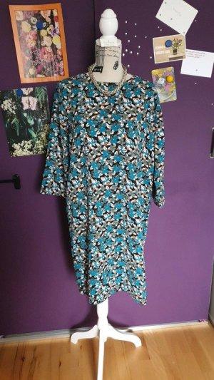 Benetton Kleid 70er Jahre Style Blau Rose grün L