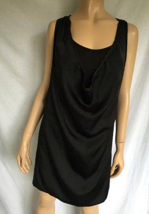 Benetton Kleid Gr. M Schwarz schwarzes Wasserfallausschnitt Wasserfall kurzes