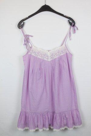 Benetton Kleid Trägerkleid Gr. S Spitzenborte flieder Nadelstreifen weiß (18/2/604)