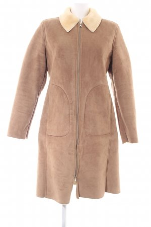 Benetton Fake Fur Coat brown-natural white casual look