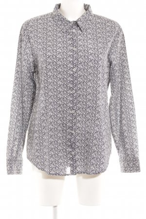 Benetton Long Sleeve Blouse white-dark blue embellished pattern casual look