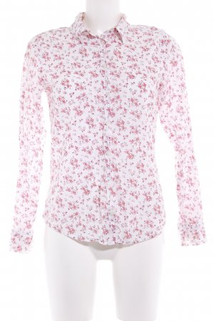 Benetton Langarm-Bluse weiß-hellrot Blumenmuster Casual-Look