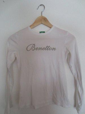 Benetton Langarm Shirt, weiß, Gr. 34