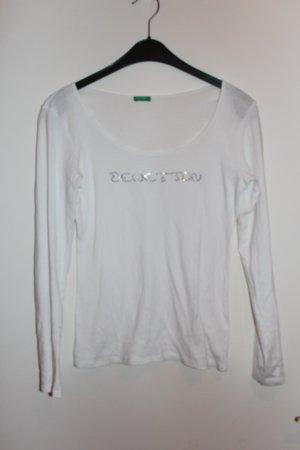 Benetton Langarmshirt Shirt Strasssteine weiß Damen Gr. S / M Top