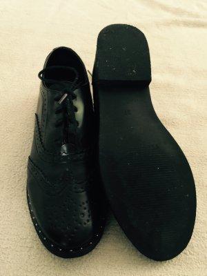 Benetton Leder-Schuhe Budapester schwarz