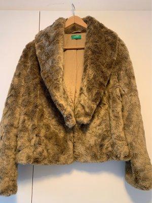 Benetton Pelt Coat bronze-colored-light brown fake fur