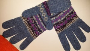 Benetton Knitted Gloves multicolored wool