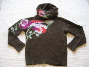 benetton pulli neu wolle brau mit blumen floral gr. s 36 xxl rollkragen