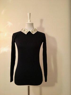 BENETTON Pullover Dunkelblau mit abnehmbaren Blusenkragen (Small)