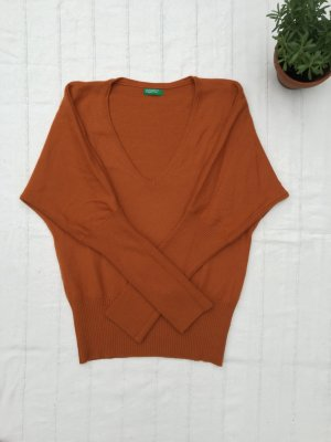 BENETTON Pullover, leicht-lockere Passform, Orange, Small