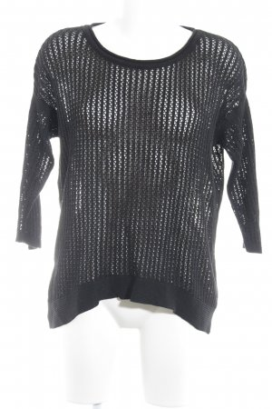 Benetton Crewneck Sweater black loosely knitted pattern casual look
