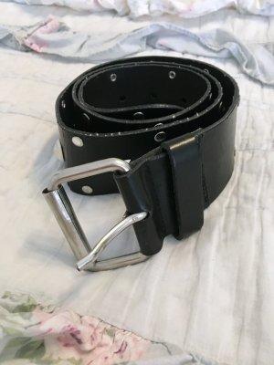 Benetton schwarz breiter Gürtel Hüfte mit Nieten Gr S Leder