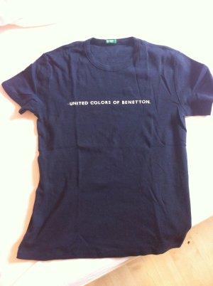 Benetton Shirt dunkelblau mit weißem Aufdruck Gr. S
