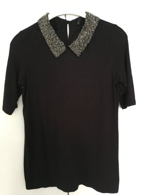 Benetton Camisa negro-color plata