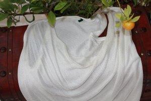 Stile Benetton Cardigan en maille fine blanc coton