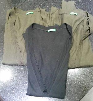 Benetton Strickjäckchen schwarz grün Wolle L 38 M 36 3er Pack