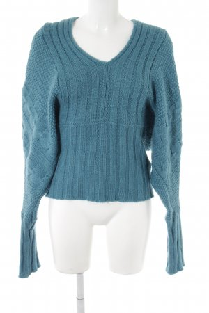Benetton Knitted Sweater cadet blue cable stitch casual look