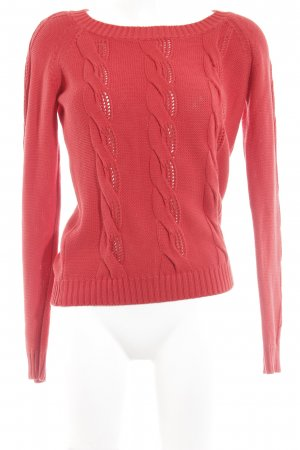 Benetton Strickpullover rot Zopfmuster Casual-Look