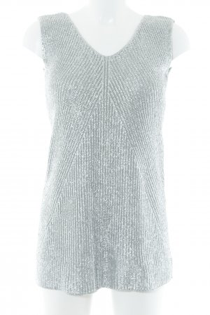Benetton Knitted Top silver-colored-grey abstract print wet-look