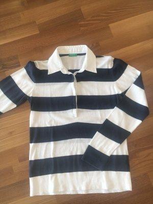 BENETTON°Sweatshirt dunkelblau-weiß gestreift°Polo-Kragen°M / 38°sehr guter Zustand
