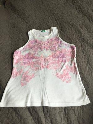 Benetton T-Shirt mit Rosen-Blumen Muster und glitzernden Pailletten