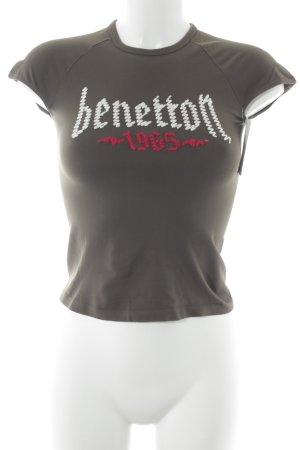 Benetton T-Shirt olivgrün Schriftzug gedruckt Logostickerei