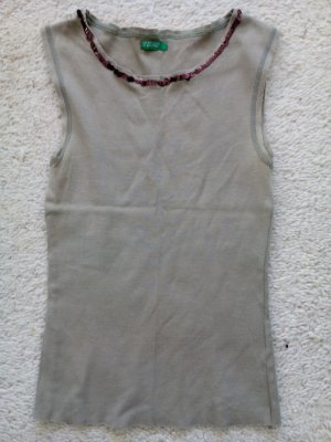 Benetton Top mit Pailletten khaki