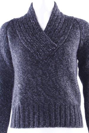 Benetton V-Ausschnitt-Pullover schwarz-grau