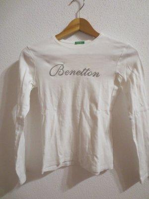 Benetton weißes langarm Shirt, Gr. 34/36