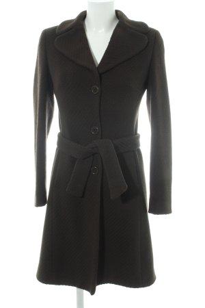 Benetton Wool Coat dark brown weave pattern business style