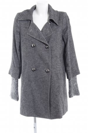 Benetton Wool Coat black-natural white herringbone pattern extravagant style