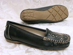 Bequem Comfort Mokassin Slipper Größe 36 LINEA SUPREMO Schwarz Loafer