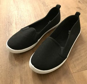 H&M Slip-on Sneakers black-white cotton