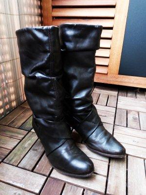 Bequeme braune Leder Stiefel 39