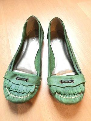 Bequeme grüne Mokassins aus Leder in Größe 38 von Danny Shoes, wenig getragen