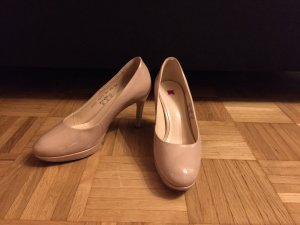 Bequeme Lackpumps in Nude