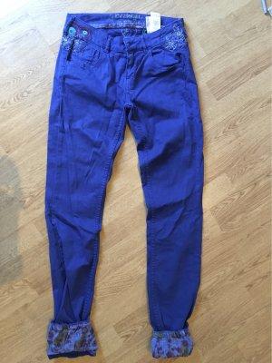 Desigual Pantalone cinque tasche blu Tessuto misto