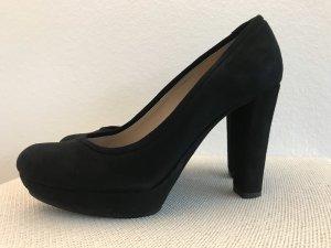 Bequeme Samtleder High Heels in Schwarz